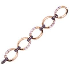 Alex Jona Pink Sapphire Moonstone 18 Karat Rose Gold Link Bracelet