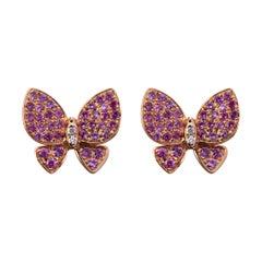 Alex Jona Pink Sapphire White Diamond Rose Gold Butterfly Stud Earrings