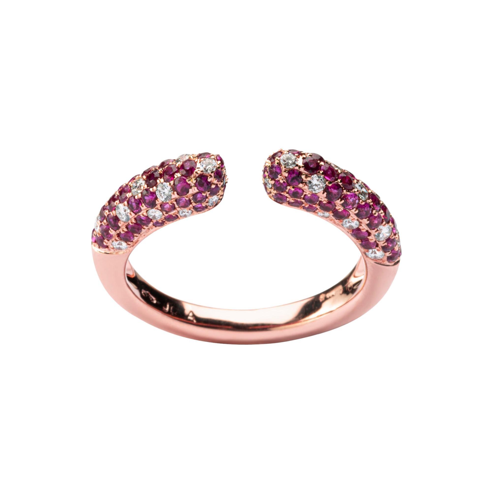 Alex Jona Pink Sapphire White Diamond Rose Gold Ring