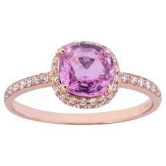 Alex Jona Pink Sapphire White Diamond Rose Gold Solitaire Ring