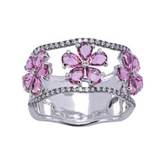 Alex Jona Pink Tourmaline White Diamond 18 Karat White Gold Band Ring