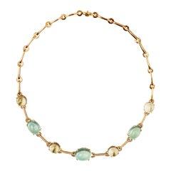 Alex Jona Prehnite Citrine White Diamond 18 Karat Yellow Gold Necklace