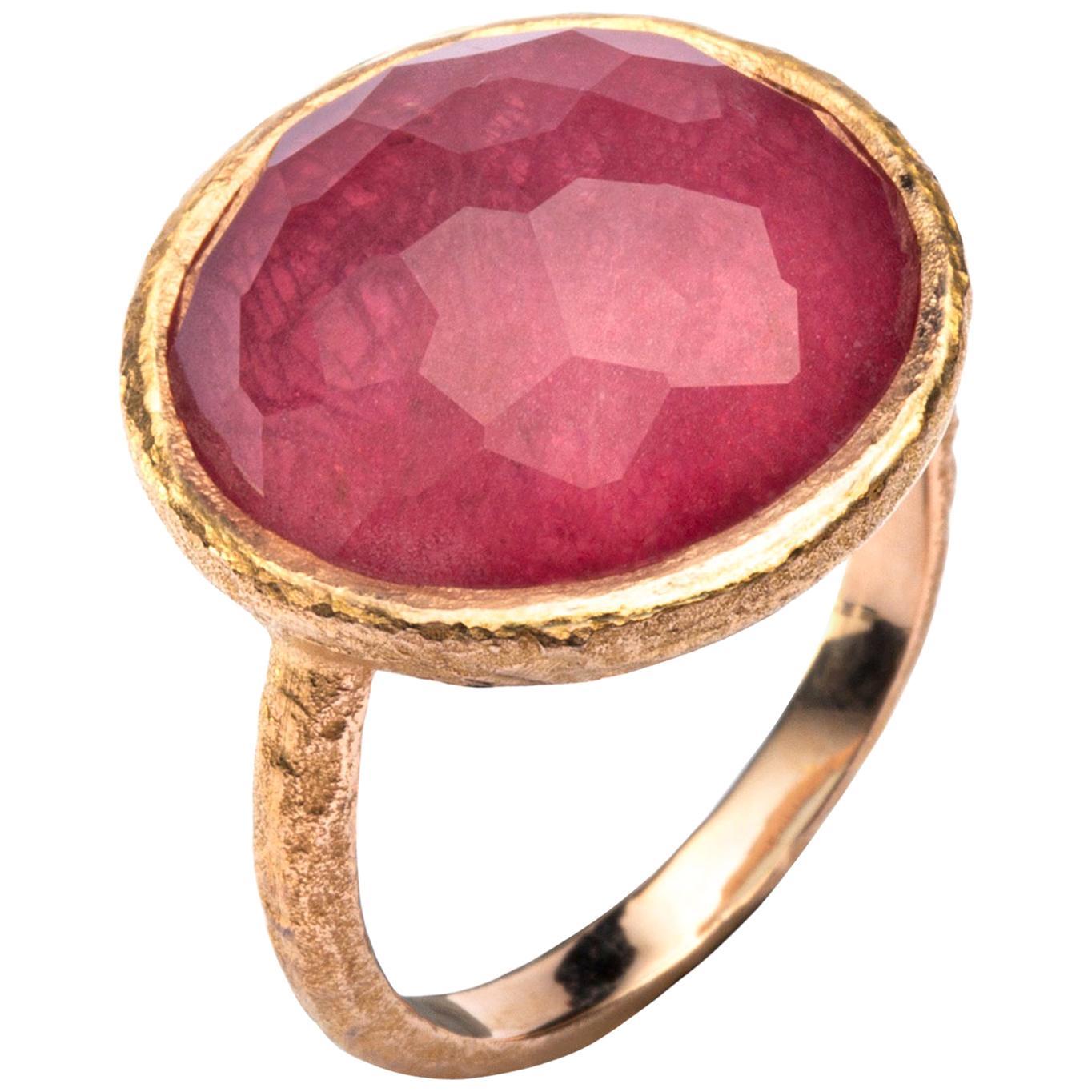 Alex Jona Quartz Ruby 18 Karat Yellow Gold Ring