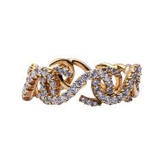 Alex Jona Riccioli White Diamond 18 Karat Yellow Gold Ring Band