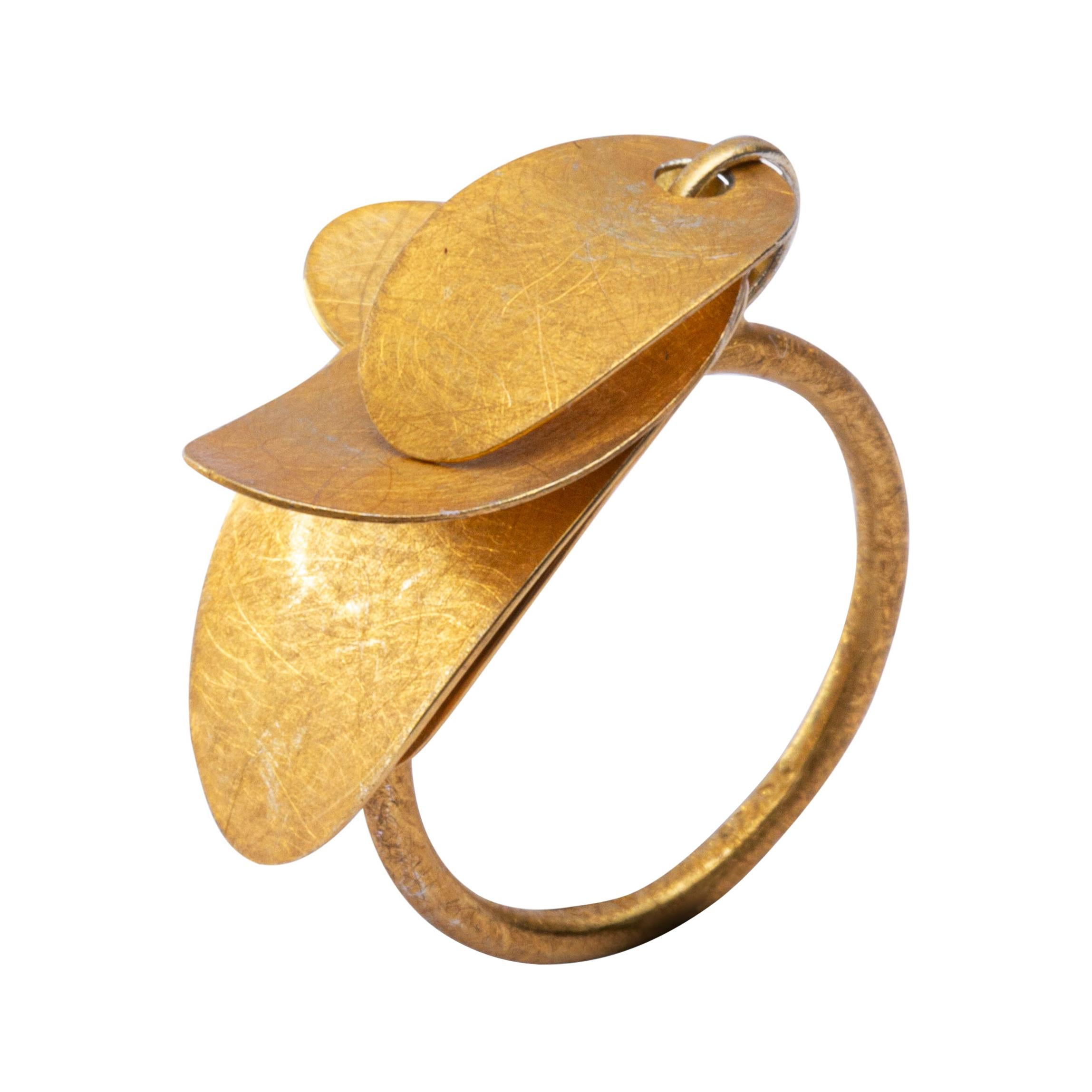 Alex Jona Rough Frosted Yellow Gold Multiple Leaves Ring