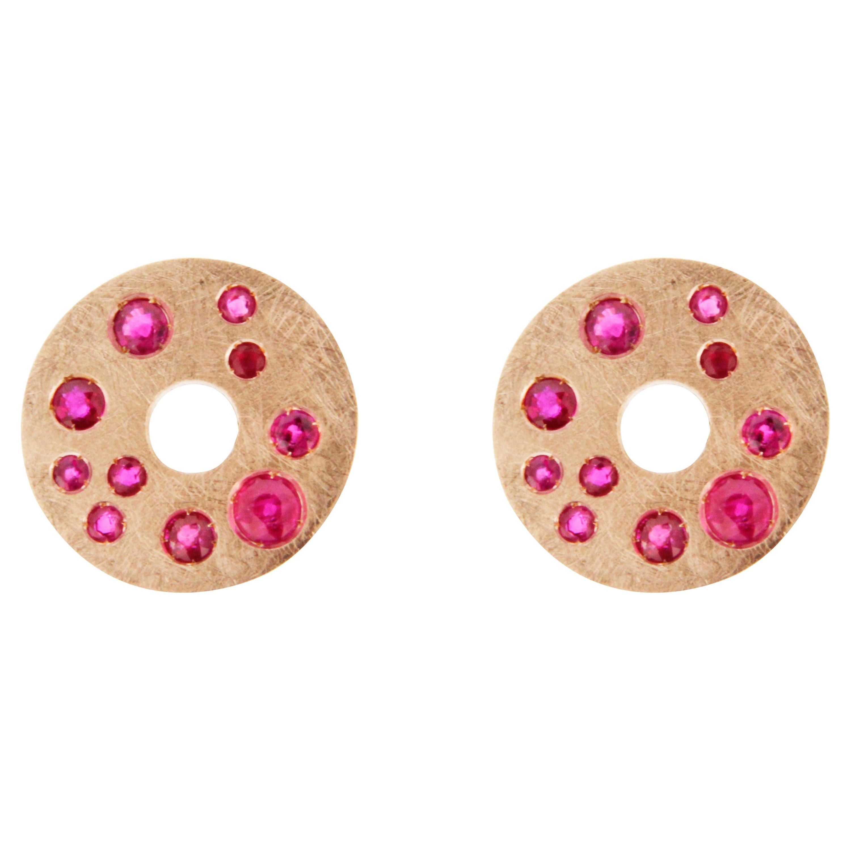 Alex Jona Ruby 18 Karat Brushed Pink Gold Stud Earrings