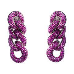 Alex Jona Ruby 18 Karat White Gold Curb Link Chain Clip-On Earrings