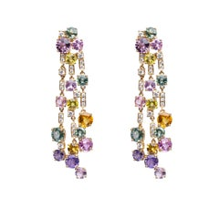 Alex Jona Sapphire White Diamond 18 Karat Yellow Gold Chandelier Earrings