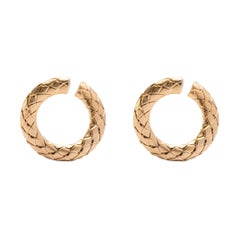 Alex Jona Satin Gold-Plated Sterling Silver Wooven Curb Hoop Earrings