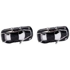 Alex Jona Sterling Silver Black Enamel Porsche Cufflinks