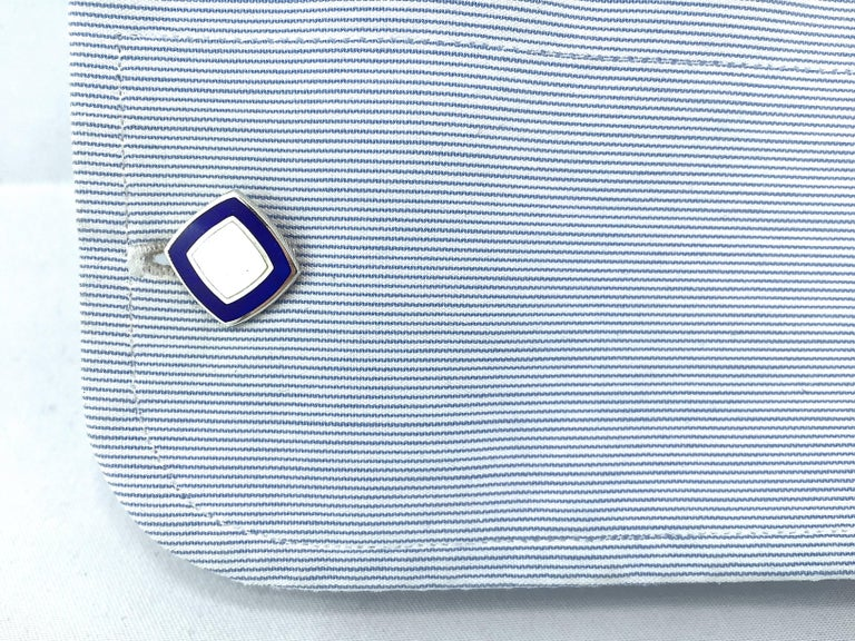 Alex Jona sterling silver cuff links with blue and white enamel. Alex Jona cufflinks stand out, not only for their special design and for the excellent quality, but also for the careful attention given to details during all the manufacturing