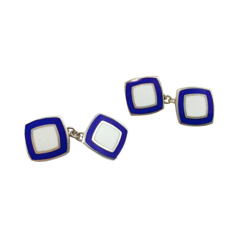 Alex Jona Sterling Silver Blue White Enamel Cufflinks For Sale