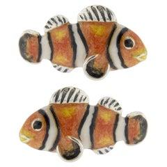 Alex Jona Sterling Silver Enamel Clownfish Cufflinks