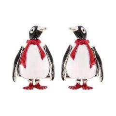 Alex Jona Sterling Silver Enamel Penguin Cufflinks