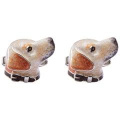 Alex Jona Sterling Silver Labrador Dog Cufflinks with Enamel