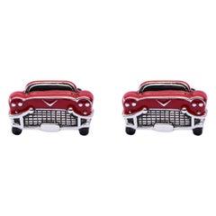 Alex Jona Sterling Silver Red Enameled Classic Car Cufflinks
