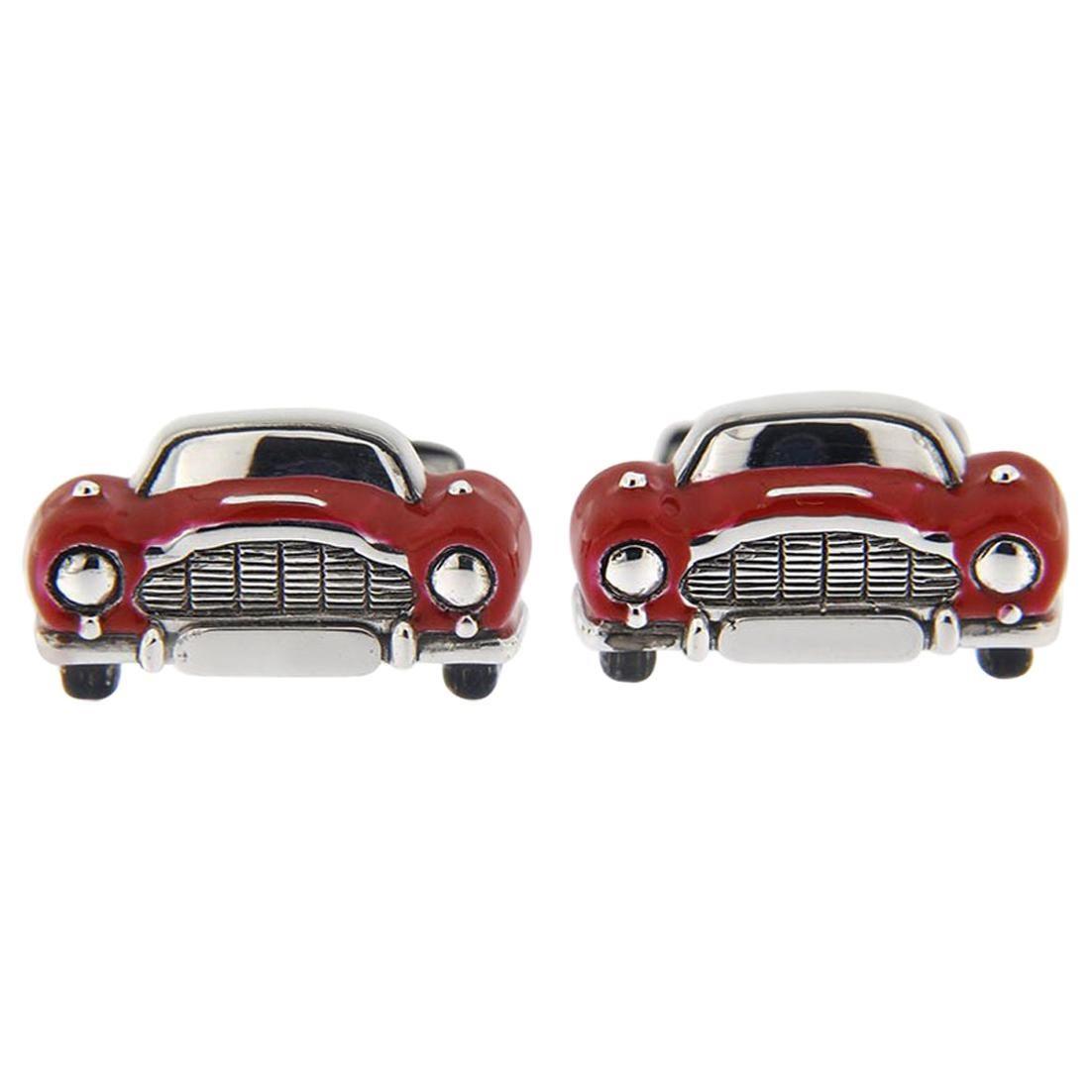 Alex Jona Sterling Silver Red Enamel Classic Convertible Car Cufflinks