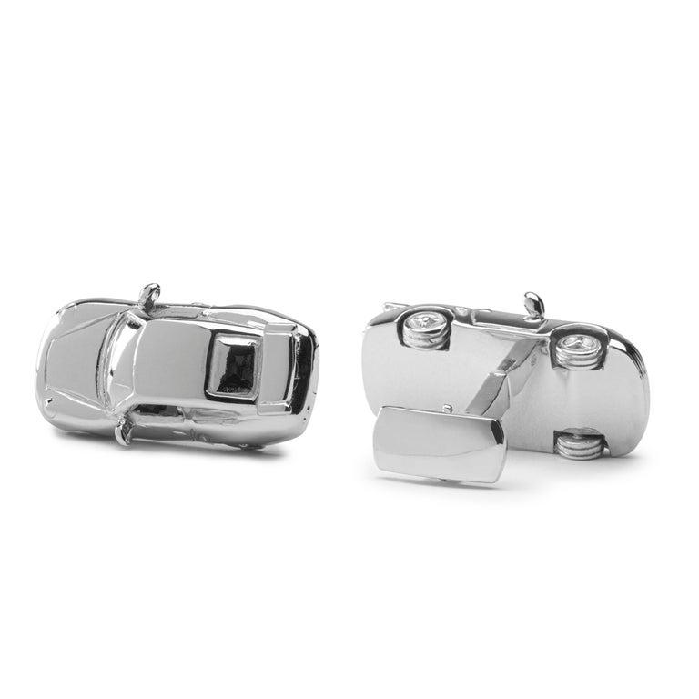 Alex Jona Sterling Silver Rhodium-Plated Porsche Cufflinks In New Condition For Sale In Torino, IT