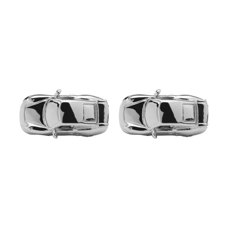 Alex Jona Sterling Silver Rhodium-Plated Porsche Cufflinks For Sale