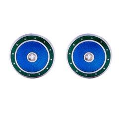 Alex Jona Sterling Silver White Diamond Green and Blue Enamel Cufflinks