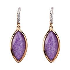 Alex Jona Sugilite and Quartz 18 Karat Rose Gold Drop Earrings