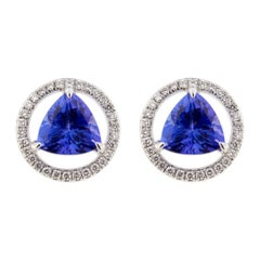 Alex Jona Tanzanite White Diamond White Gold Stud Earrings