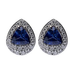 Alex Jona Tanzanite White Diamond Yellow and White Gold Stud Earrings