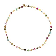 Alex Jona Tourmaline 18 Karat Yellow Gold Heart Necklace