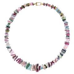 Alex Jona Tourmaline Aquamarine Gold Necklace