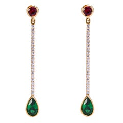 Alex Jona Tsavorite Red Spinel White Diamond Yellow Gold Dangle Earrings