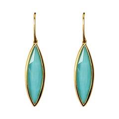 Alex Jona Turquoise Quartz 18 Karat Yellow Gold Dangle Earrings
