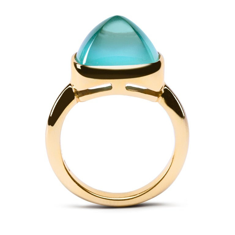 Sugarloaf Cabochon Alex Jona Turquoise Quartz 18 Karat Yellow Gold Ring For Sale