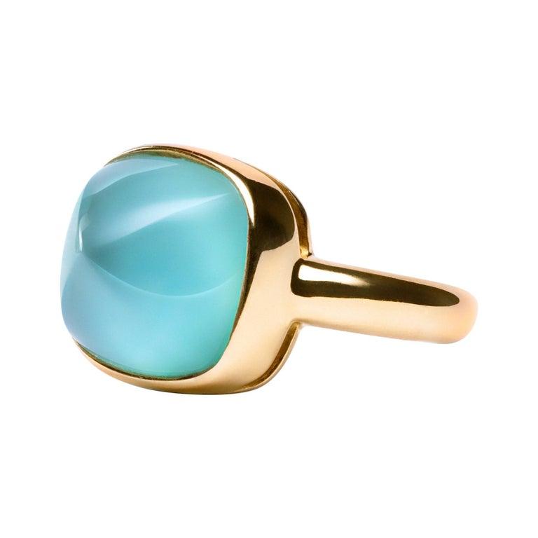 Alex Jona Turquoise Quartz 18 Karat Yellow Gold Ring For Sale
