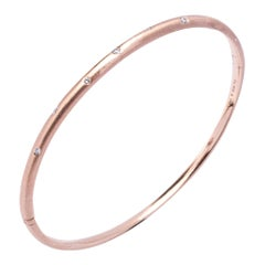 Alex Jona White Diamond 18 Karat Brushed Rose Gold Bangle Bracelet