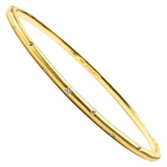 Alex Jona White Diamond 18 Karat Brushed Yellow Gold Bangle Bracelet