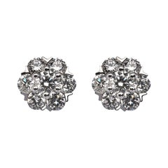 Alex Jona White Diamond 18 Karat White Gold Cluster Stud Earrings