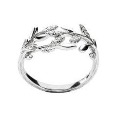Alex Jona White Diamond 18 Karat White Gold Foliage Ring