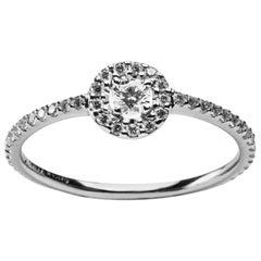Alex Jona White Diamond 18 Karat White Gold Halo Ring