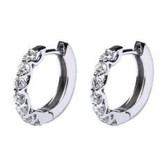 Alex Jona White Diamond 18 Karat White Gold Hoop Earrings