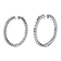 Alex Jona White Diamond 18 Karat White Gold Inside-Out Hoop Earrings