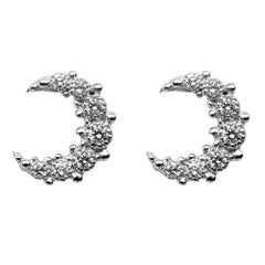 Alex Jona White Diamond 18 Karat White Gold Moon Stud Earrings