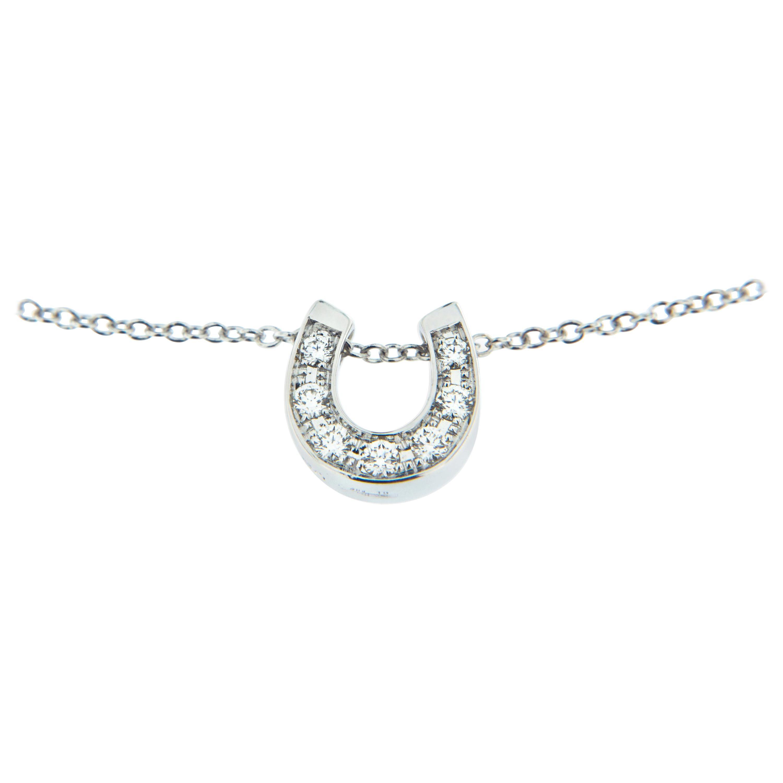 Alex Jona White Diamond 18 Karat White Gold Sliding Horseshoe Pendant Necklace