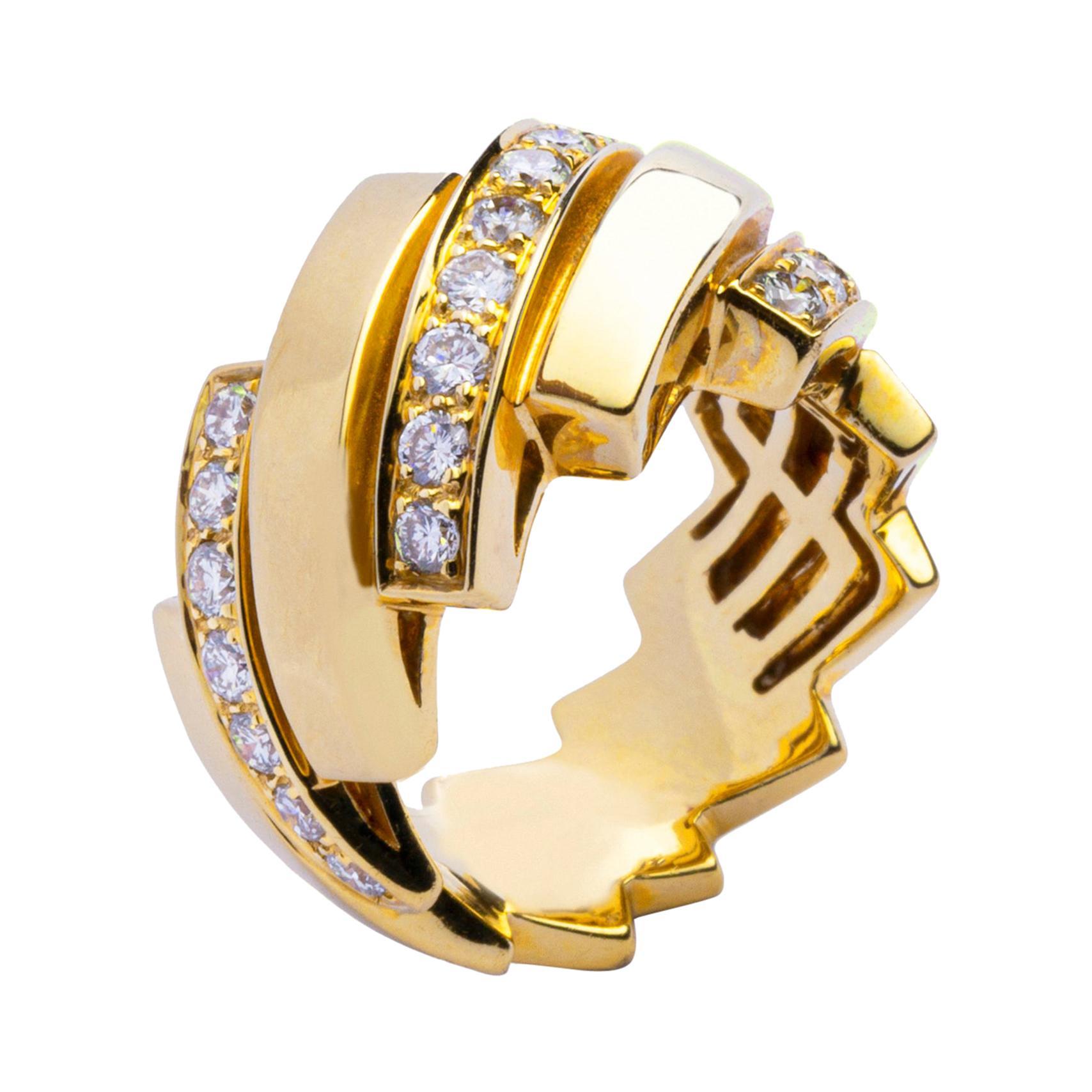 Alex Jona White Diamond 18 Karat Yellow Gold Band Ring