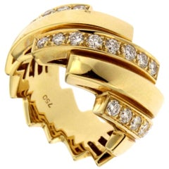 Alex Jona White Diamond 18 Karat Yellow Gold Band Ring