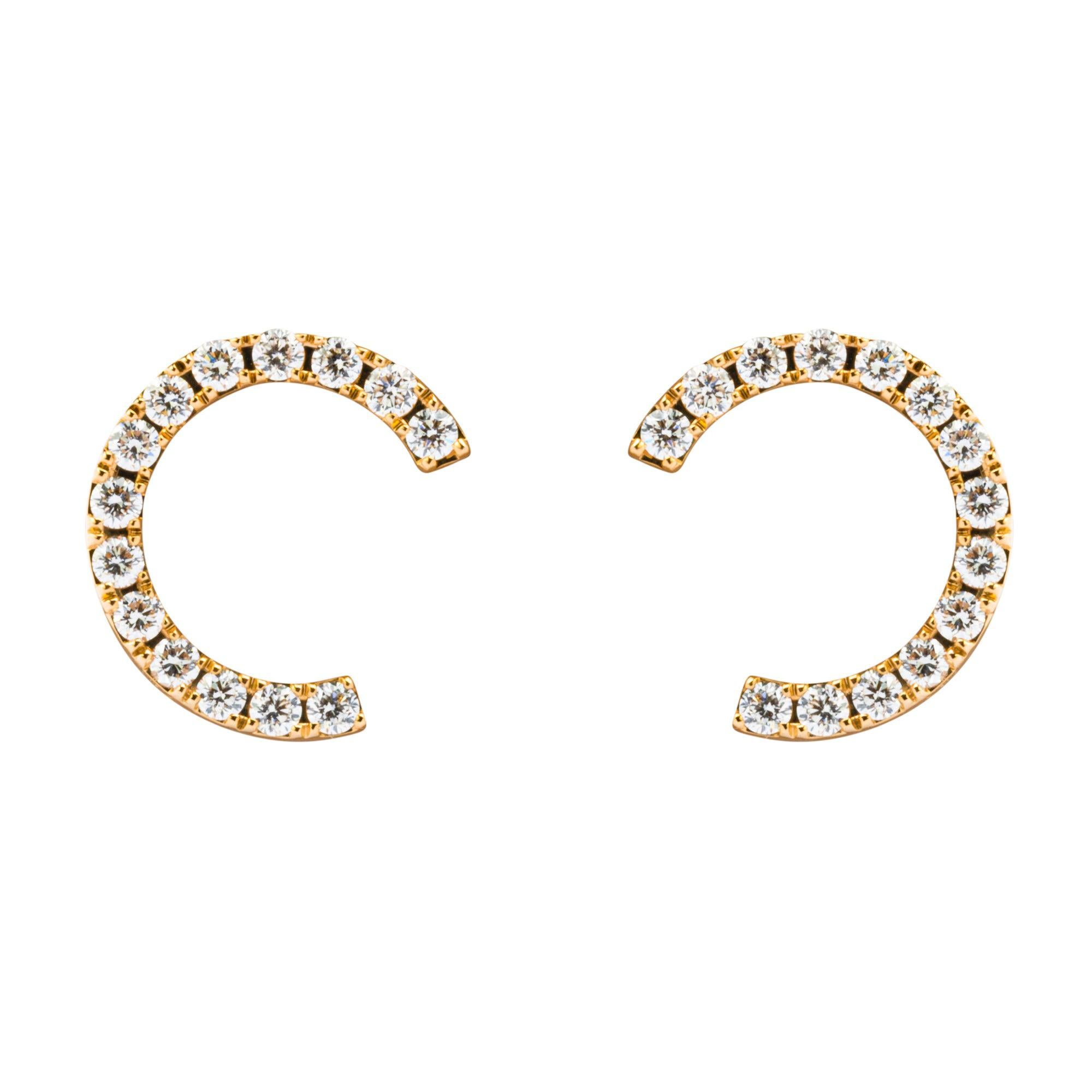 Alex Jona White Diamond 18 Karat Yellow Gold Earrings