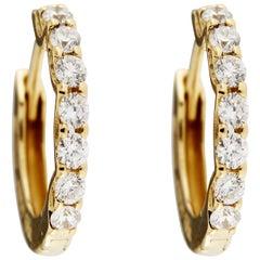 Alex Jona White Diamond 18 Karat Yellow Gold Hoop Earrings