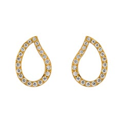 Alex Jona White Diamond 18 Karat Yellow Gold Paisley Stud Earrings