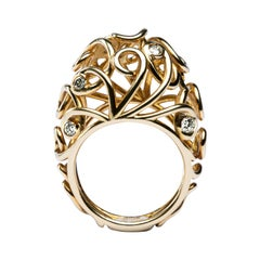 Alex Jona White Diamond 18 Karat Yellow Gold Riccioli Dome Ring