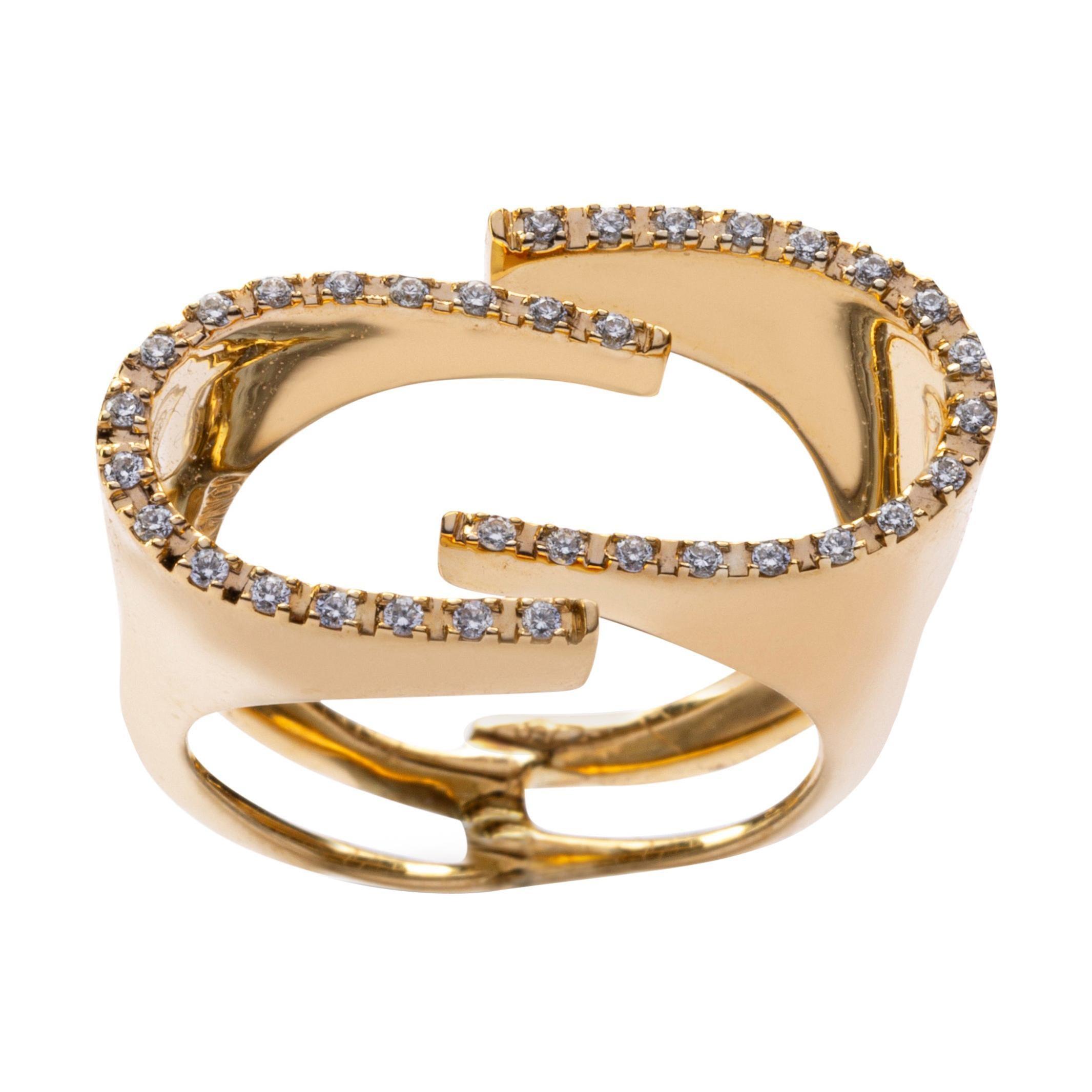 Alex Jona White Diamond 18 Karat Yellow Gold Ring