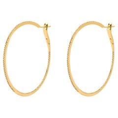 Alex Jona White Diamond 18 Karat Yellow Gold Round Hoop Earrings